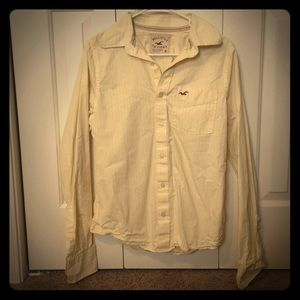 Hollister M yellow and white stripe collared shirt